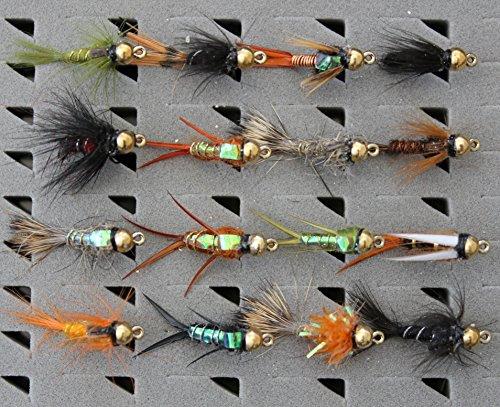 Sortiment 16gemischt Fliegenfischen Fliegen Nymphe Signalempfänger Set 33j-12-q16–Haken 12