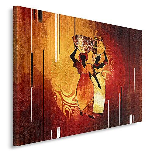 Feeby Frames Tableau imprimé XXL, Tableau imprimé sur Toile, Tableau Deco, Canvas 80x120 cm, Afrique, Femmes, CRUCHES, Brun, Orange