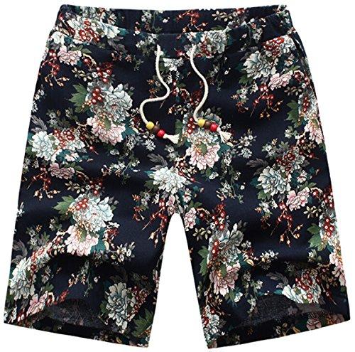 Win8Fong Parka/Herren Badeshorts Bermuda Shorts Blumenmuster Beach Pants - 06