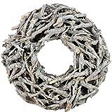 Bada Bing XL Weidenkranz Holz Kranz Geäst aus Zweigen Ø Ca. 50 cm Weiss Grau Landhaus Stil Deko Tischdeko Wanddeko 31