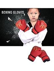 3colores niños Boxeo Muay Thai Guantes Sparring Entrenamiento de deportes de lucha Boxeo Saco de arena para adolescente Teen, rojo