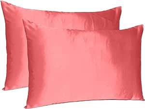 """Oussum Satin 300 TC Pillow Cover (Deep Sea Coral_20""""X26"""")"""