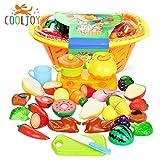Cooljoy 21-Teilig Küchenspielzeug Obst Gemüse Lebensmittel Küche Spielzeug Set mit Korb, Rollenspiel Lernspielzeug für Kinder, Geburtstagsgeschenk Weihnachtsgeschenk