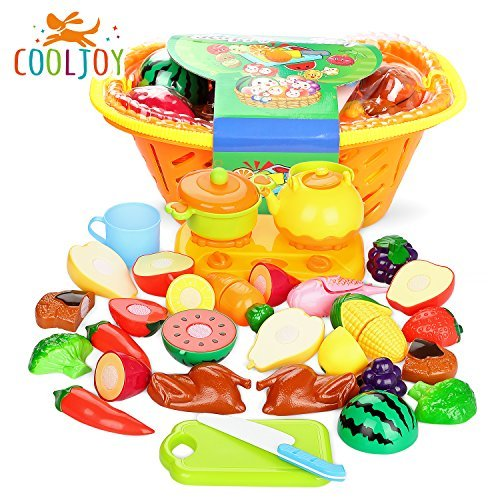 COOLJOY 20 PCS Baby Kitchen Food Toy,Children Pretend Play Food Toys Velcro Cutting Food Set With Basket Education Toy