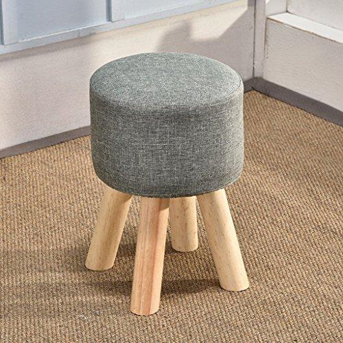 CS Haut pied chaise salon chaussures tabouret banc en tissu bois thé table tabouret (Color : Gray)