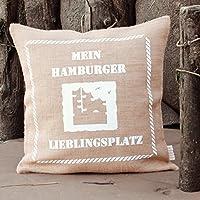 Jute-Kissen-Bezug * HAMBURG ... Elbphilharmonie* / Kaffee-Sack-Leinen / Rupfen / Dekoration: maritm & rustikal & vintage - Shabby-Chic-Style - Retro: Dekokissen 50 cm x 50 cm - HANDMADE