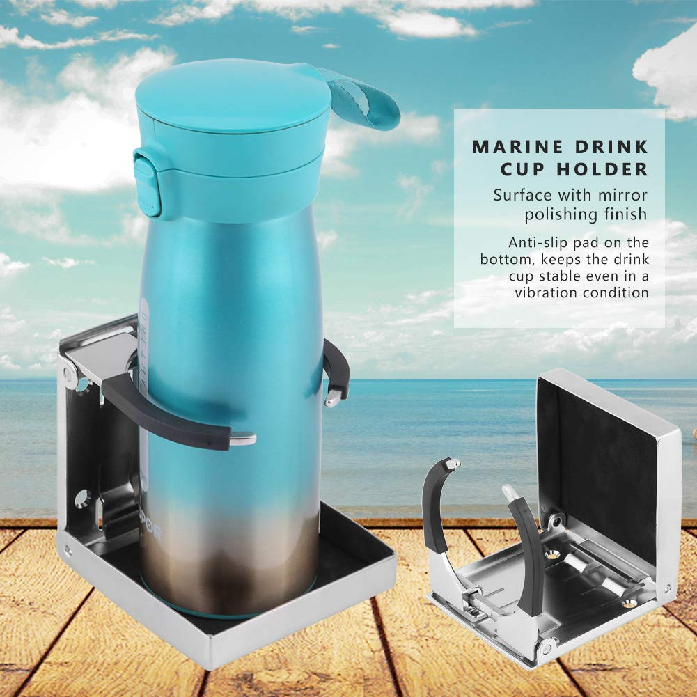 Marine Drink Cup Holder Stainless Steel Folding Drink Cup Bottle Holder For Marine Boat Truck RV Adjustable