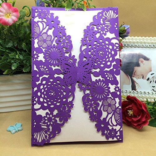 50Einladungskarten aus Papier mit lasergeschnittenem Schmetterlings- und Blumenmuster, als Hochzeitseinladung oder für Verlobung, Geburtstag, Abschluss oder Babyparty violett