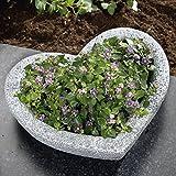 TRI Gartenschale, Pflanzschale in Herz-Optik, Pflanzkübel Blumenkübel Gartendeko, wetterfester Kunststein, 25 x 31,5 x 8 cm