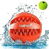 Premium Hundeball 2 Stück | Hundespielzeug Ball aus Naturkautschuk mit Zahnpflege Funktion | BONUS: 1 Gratis Ebook Hundetraining | Snackball & Dentalball ideal für Große & Kleine Hunde sowie zahnende Welpen | Kräftiger Kauspaß mit DentaClean Technologie | Set: Ø 7 & 8cm | Spielzeug für Hunde aus Natur-Gummi | Spielball Robust & Langlebig mit Loch für Leckerlis