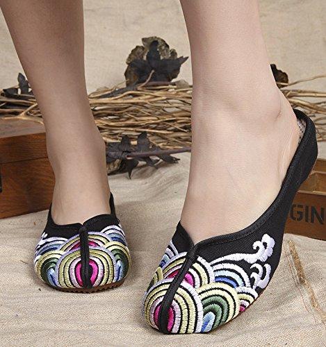 GXS Gestickte Schuhe, Sehnensohle, ethnischer Stil, weiblicher Flip Flop, Mode, bequem, Sandalen Black