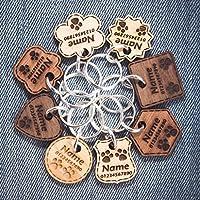 ❤ Medaglietta per cani in legno | Tag gatto | ID dell'animale domestico personalizzato | Inciso con nome e numero di telefono | 5 tipi di legno massiccio | 8 forme | 3 dimensioni