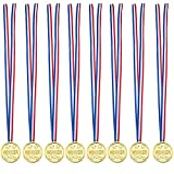knowing 24 Stücke Kinder Kunststoff Medaille,Gold Kunststoff Sieger Medaillen Golden Awards,Für Kinder Sporttag, Party Game Toys, Preise Awards