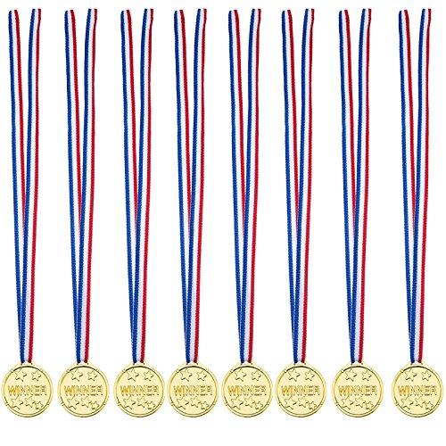 knowing 24pcs Bambini Medaglie Oro Plastica Winner Medaglie Oro Premi,Medaglia per bambini,Per la giornata sportiva per bambini, giochi di giocattoli per feste, premi