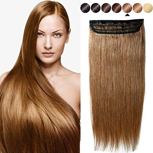 S-noilite® Extensiones de clip de pelo natural cabello humano GRUESO #06 Marrón claro - 100% Remy hair - 1 piezas 5 clips (50cm-95g)