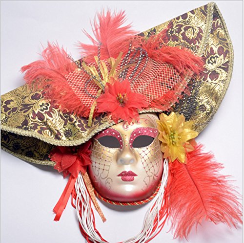 WKAIJCA Halloween Frau Maske Bemalt Hut Make-up Party Strauß Haar (Kostüme Tanz Modellierung)