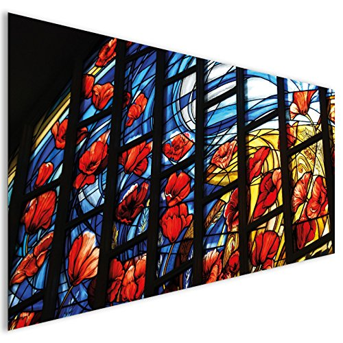 Blau Rot Blumen Buntglas Kultur Acrylglas Wand Kunst - XL 140cm x 70cm (Blumen-buntglas)