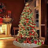 Materiale & # xff1a; iuta Dimensione & # xff1a; 121,9cm di diametro Gonna albero modello & # xff1a; kaki tela Colore: bianco neve lato stampato colore: rosso e verde plaid con oro seta ornamento & # xff1a; bordi dorati gl...