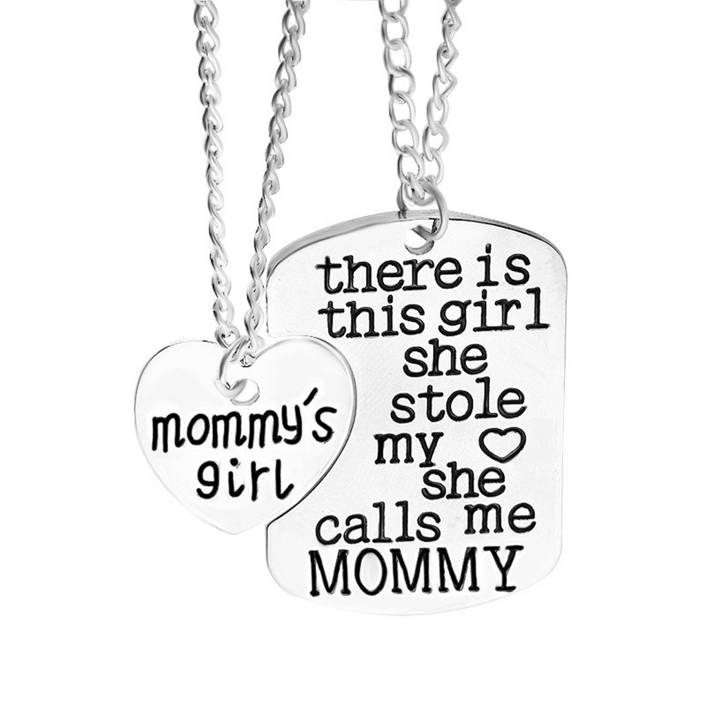 JewelleryClub Mommy Necklace White Gold Plated Family Necklace Relationship Necklace for Mum and Daughter