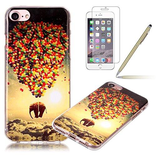 iPhone 7 Hülle,iPhone 7 Silikon Case,iPhone 7 Cover - Felfy Ultra Dünne Weicher Slim Gel Flexible Soft TPU Silikon Hülle Schutzhülle Silikon Hülle Muster Farbmalerei Beschützer Hülle Handy Durchsichti Ballon-Elefant