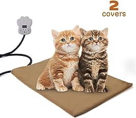 Qomolo Heizmatte Wärmematte Hund Hundebett Katzenbett Heizdecke Schlafplatz für Hund Katze mit 7 Temperaturstufen und 2 Ersetzbaren Decke