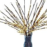 Fiosoji - Lampada a LED a forma di ramo di salice, 20 lampadine, 76,2 cm, calda decorazione per casa, feste di compleanno, cerimonie nuziali, cene, feste 3 pezzi Yellow