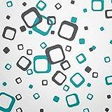 WANDfee® Wandtattoo 60 Vierecke FARBWUNSCH Farbe türkis dunkelgrau zweifarbig bunte moderne Wanddeko selbstklebende retro Cubes Quadrate Wandaufkleber Wandsticker Fliesenaufkleber Dekoration Deko Aufkleber