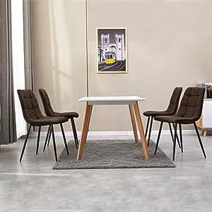 WOLTU 4 X Chaise de Salle /à Manger Chaise de Cuisine Assise rembourr/ée en Similicuir /épais Pieds en m/étal,Anthracite BH207an-4