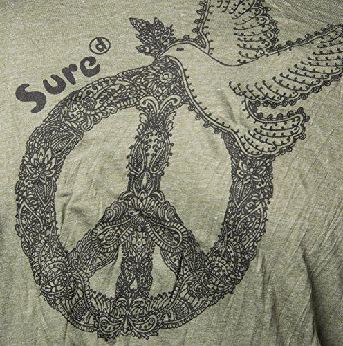 Kunst und Magie Sure Hoody Kapuzen Shirt Peace mit Friedenstaube Army Green