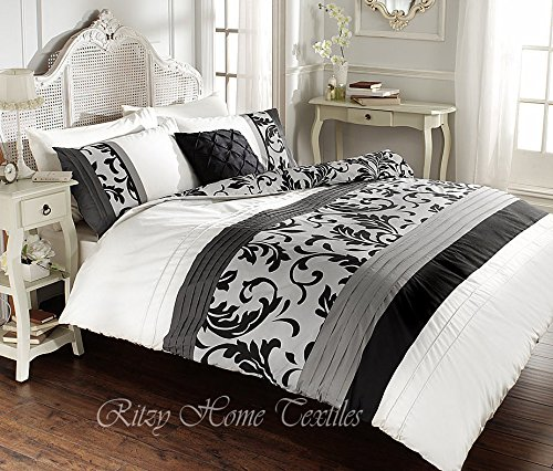 luxury-duvet-cover-sets-with-pillowcases-new-reversible-polycotton-bedding-scroll-black-white-king