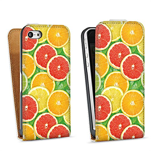 Apple iPhone 5 Housse Étui Silicone Coque Protection Citron Orange Sac Downflip blanc