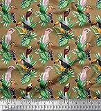 Soimoi Marrón Jersey de algodon Tela hojas del monstera, loro y tucán pajaro estampados de tela por metro 58 Pulgadas de ancho