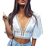 Camiseta Crop Top Mujer Blanco con Bordado Camiseta Mangas Sueltas para Verano Cuello V Verano, Playa, Casual