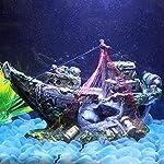 Broadroot Fish Tank Landscape Sailing Boat Shipwreck Shaped Ornament Aquarium Fish Tank Pirate Decor 14