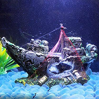 Broadroot Fish Tank Landscape Sailing Boat Shipwreck Shaped Ornament Aquarium Fish Tank Pirate Decor 5
