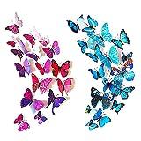 Forepin® 24 tlg Wandtattoo Wand Aufkleber 3D Magnetschmetterling Wandaufkleber Wanddekoration Kühlschrankmagnet mit Klebepunkten zur Fixierung - Lebendig Blau, Lila und Rot Schmetterling
