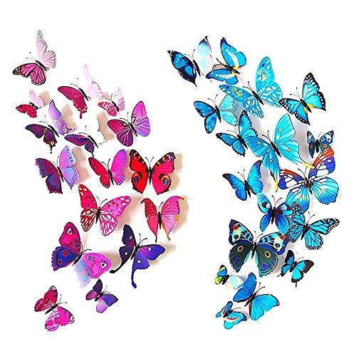 Forepin® 24 Pezzi 3D Farfalle Magnete Casa Camera Frigo Decorazioni Animal Wall Sticker Adesivi Murali Adesivi da Parete con Colla Stick - Blu, Viola e Rosso Farfalle