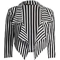 Sugerdiva® Womens Black and White Striped Cropped Waterfall Coat Casual Jacket Blazer Plus Size UK 8-26