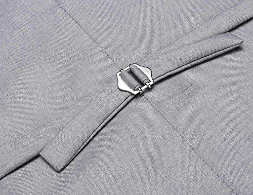Coofandy Weste Herren Anzug V-Ausschnit Vintage Geschäftsweste Anzugweste Slim fit Anzug Ohne Arm A-2-Grau