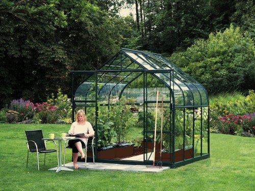 Vitavia Gewächshaus Diana – Ausführung:6700 ESG 3 mm Grün, Fläche:ca. 6,7 m², Fenster:2, Maße:263 x 258 cm, Sockel:255 x 255 cm,