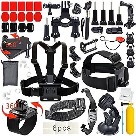 Erligpowht 24 en 1 Kit Paquet Aquatiques Extrêmes Mécaniques Des Sports Kit d'Accessoires pour GoPro Hero 5/4/3+/3/2/1 Noir Argent et SJ4000/SJ5000/SJ6000/Xiaomi Yi/WiMiUS/Lightdow/DBPOWER/dOvOb/Sony Sports Dv et Plus