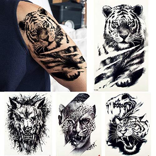 lihaohao Big Black Tiger Tattoos Gefälschte Männer Wolf Leopard Wasserdicht Große Bestie Monster Körper Arm Beine Tattoos Temporäres Papier 21X15Cm 4St