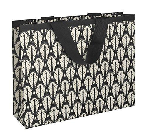 de Bertrand 83195C Papier Einkaufstasche 35x 10x 27,5cm matt Laminiertes mit Motiv Paris Boden Weiß/Eiffelturm schwarz (Paris-papier)