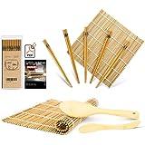 MUDEELA Sushi Set, Bambus Sushi Matte, karbonisierte Sushi Rollmatte für Schimmel-resistent, Anfänger Sushi Kit