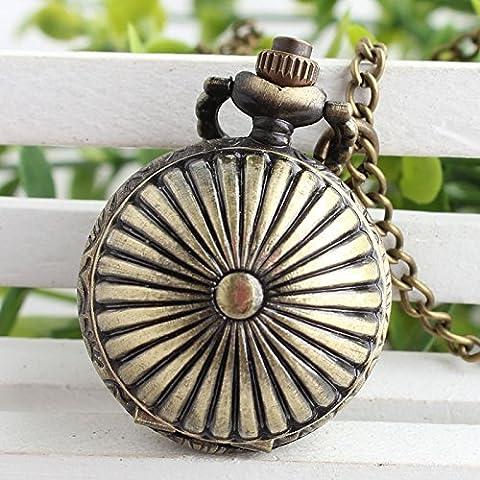 XM Personalit¨¤ creativa Vintage Style pastorale rotonde elemento cavo quadrante in rilievo Brone sfera orologio al quarzo per le donne