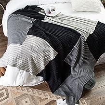 battar de bediing ligero suave cómodo Verano Aire Acondicionado Quilt Handgemachte Verano Algodón manta de punto (lavable a máquina, 1pieza, algodón creativos costuras Manta de punto (130x 170cm, color negro y gris