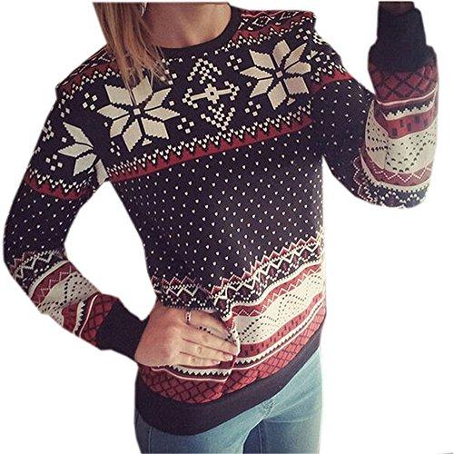 Herbst-Winter Schneeflocke Gedruckt Freizeit Rundkragen Pullover Langarm Sweatshirt Frauen Basic Sport Gepunktet PulliTop Shirt (S, Schwarz) (Schneeflocken-pullover)