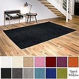 Shaggy-Teppich | Flauschige Hochflor Teppiche für Wohnzimmer Küche Flur Schlafzimmer oder Kinderzimmer | Einfarbig, schadstoffgeprüft, allergikergeeignet (Schwarz, 80 x 150 cm)