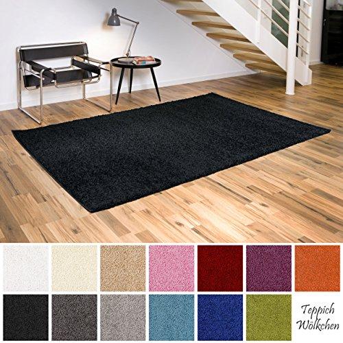 Shaggy-Teppich | Flauschige Hochflor Teppiche fürs Wohnzimmer, Esszimmer, Schlafzimmer oder Kinderzimmer | einfarbig, schadstoffgeprüft, allergikergeeignet (Schwarz, 60 x 90 cm)