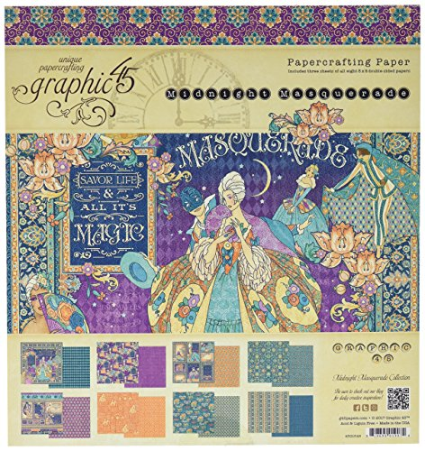 Graphic 45Midnight Masquerade Papier Pad, Mehrfarbig, 20,3x -